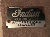 antique style porcelain look Indian motorcycles authorized dealer parts service