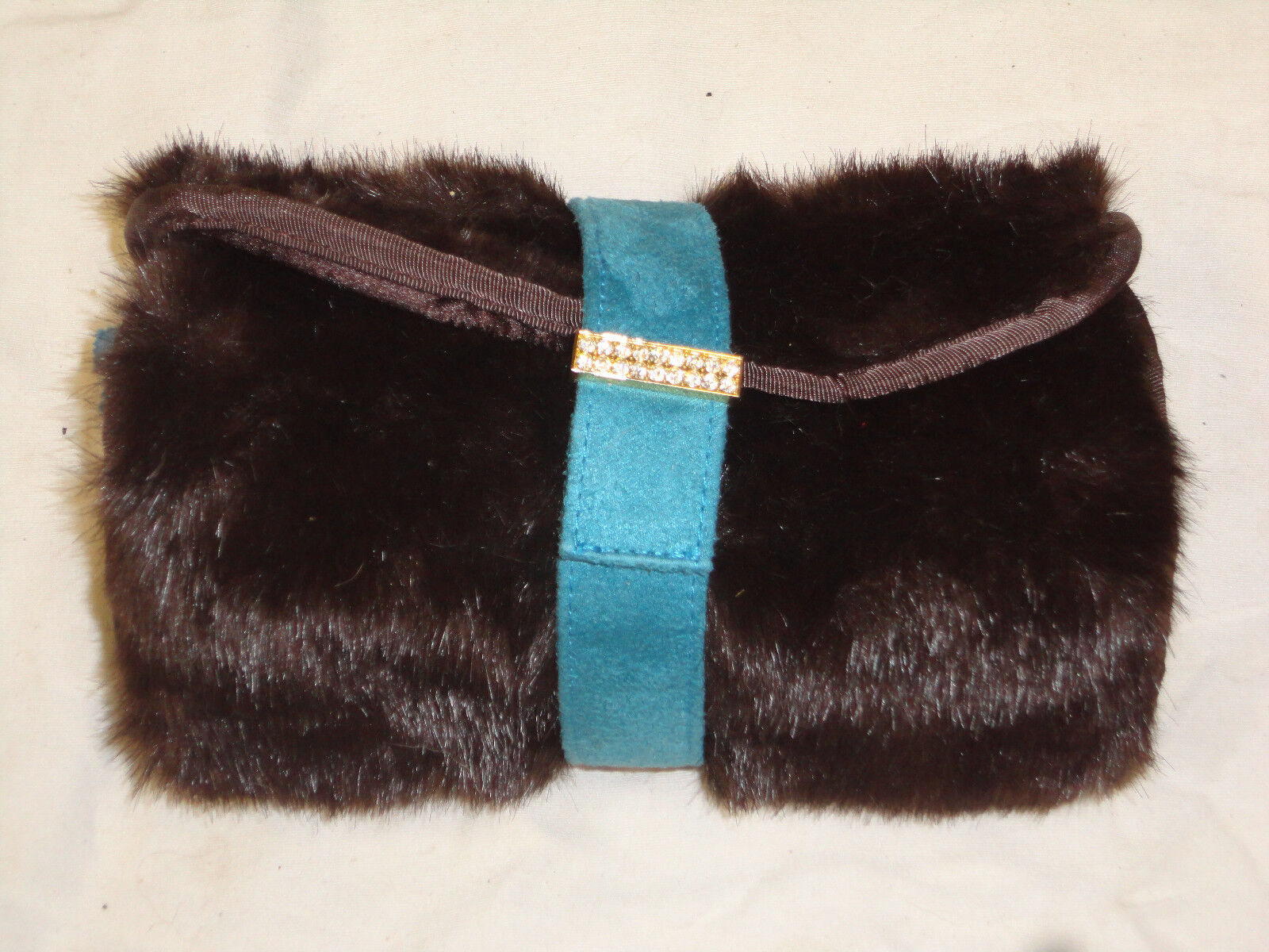 Stephanie Johnson faux fur travel bag with cosmetic bag in t