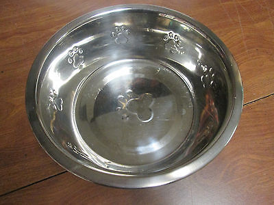 dog bowl stainless steel with dog paw design