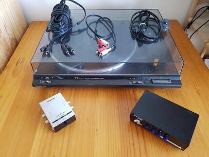 Technics SL BD20 Turntable, pre-amp, RCA switch and RCA cables