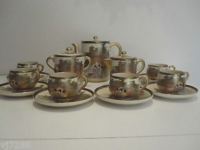 Antique Japanese Meiji Satsuma Tea Set Signed