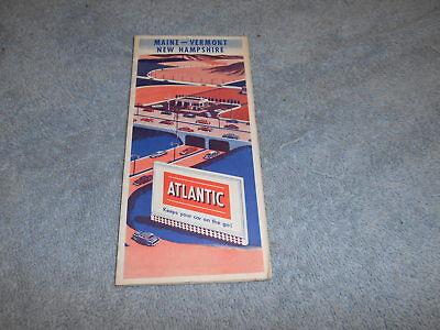 ROAD MAP - 1955 ATLANTIC OIL - MAINE / VERMONT / NEW HAMPSHIRE