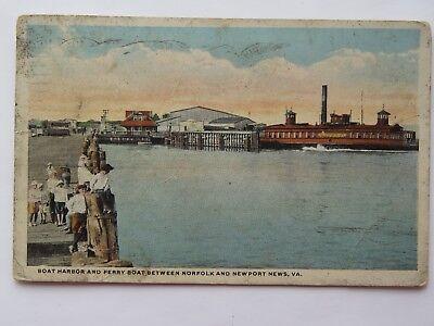 Vintage Postcard Boat Harbor Ferry Norfolk And Newport News VA Old #4452