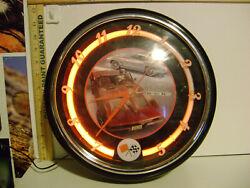 11 1/2 CORVETTE STING RAY NEON LIGHT WALL CLOCK
