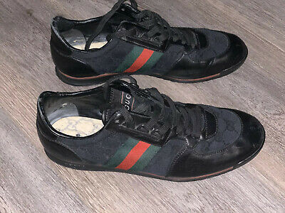 Authentic Gucci Ace Black Leather Sneaker Men's Sz 8 NO BOX Or Insoles