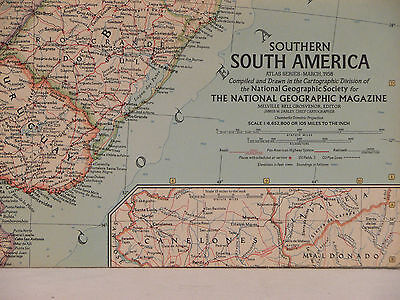 Vintage 1958 National Geographic Map of Southern South America (a)