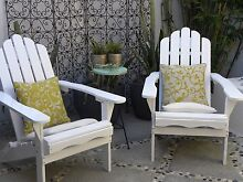 Folding Adirondack Cape Cod Chairs x 2 Chair Wooden Timber White Biggera Waters Gold Coast City Preview