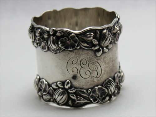 Gorham B209 Pond Lily Sterling Silver Ring Napkin Ring - w/Monogram