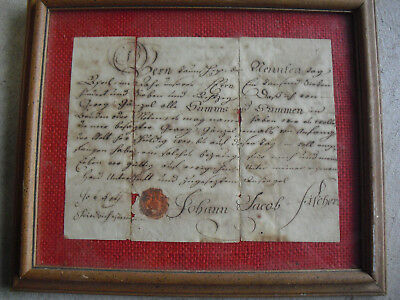 Rare Original 1776 Lancaster County PA Dutch Promisory Note Framed