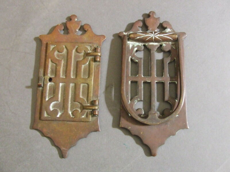ANTIQUE IMPERIAL 1035 BRASS SPEAKEASY DOOR KNOCK & PEEP HATCH HOLE SET