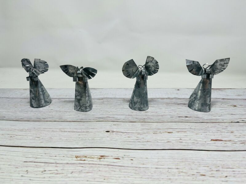 """HAND MADE TIN ANGELS , SET OF 4 DECOR , RELIGIOUS , SMALL ,  3.75"""" Tall"""