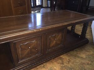 Antique solid hardwood coffee table mfg by Heirloom of  Canada.