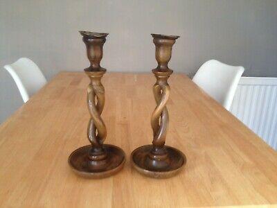 Pair Vintage Wood Twist Candlesticks