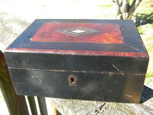 Antique wood, mother of pearl inset and velvet dresser jewelry sewing box