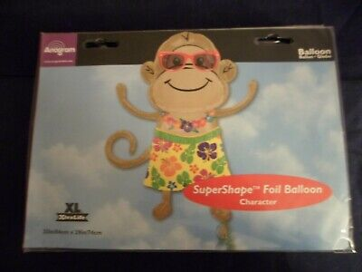 Birthday Monkey Gift - Fun Novelty Foil Ballons Hula Monkey Birthday School Home XL 33x29 ~Free Gifts