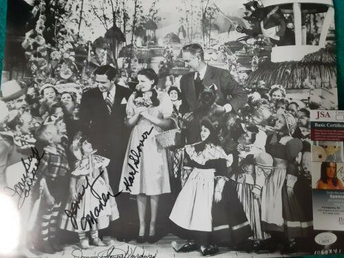 Wizard Of Oz 4 Munchkins Autographed 11x14 B/W  photo JSA Certified