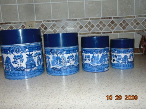 Blue Willow Tin Canister Set of 4 Vintage Japan Rare