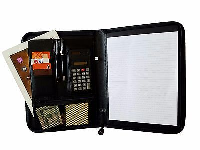 Business Zippered Padfolio W Calculator Notepad Organizer Leatherette Black