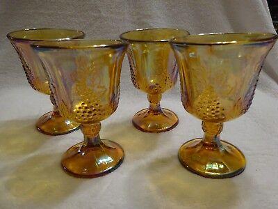 Carnival Glass Imperial Goblets Glasses  Set of 4 Vintage Grape in Marigold.