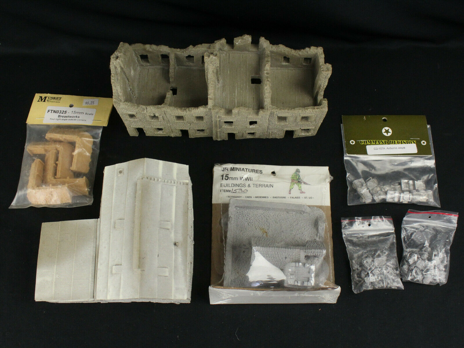 Battlefront JR Miniatures 1/100 15mm Lot Unpainted Ruined Houses Pewter Figures+