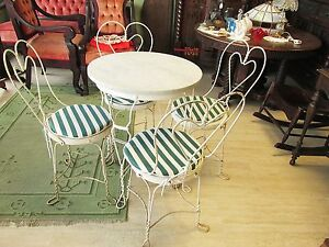 Vintage Ice Cream Parlor Soda Fountian Marble Top Table and 4 Chairs