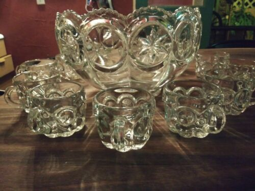 Moon & Stars Punch Bowl Set   w/ 12 cups Pressed Glass