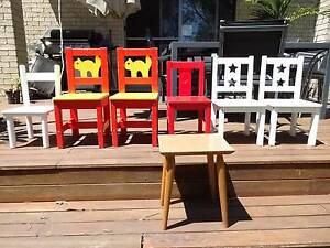 Assorted kids wooden chairs/tables, used, $10 per item Thornleigh Hornsby Area Preview