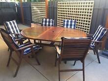 7 Piece Jarrah Outdoor Setting (Extendable Table + Seat Covers) Lockleys West Torrens Area Preview
