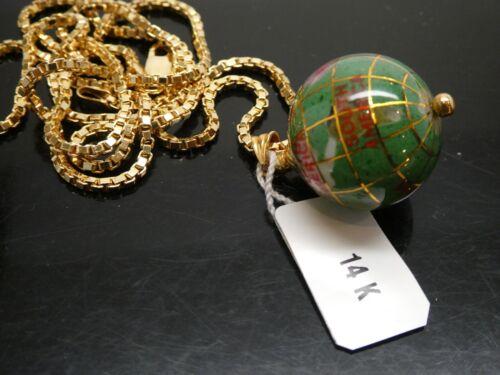 Vintage GLOBE EARTH Gemstone Inlay 14KT Yellow Gold Italian Pendant Necklace