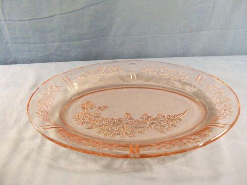 "Federal Sharon Cabbage Rose Pink Depression Glass Oval Platter 12 1/2"" Long"