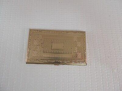 Vintage Brass Business Card Holder Nice Detailed Design 3 58 Wide 2 14 Tall