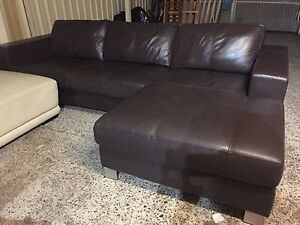 Oz design dark brown leather Lounge chaise Plumpton Blacktown Area Preview