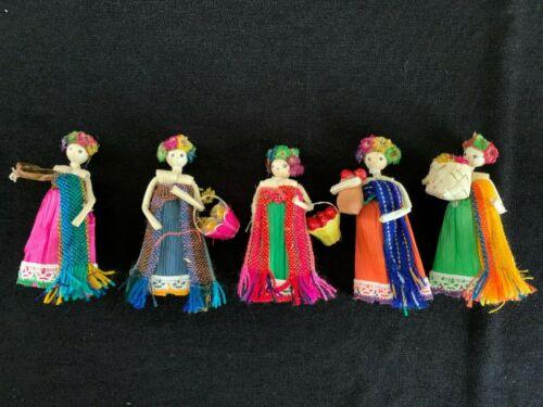 5 Vintage Miniature Ethnic Corn Husk Dolls Magnets Dried Flowers Straw