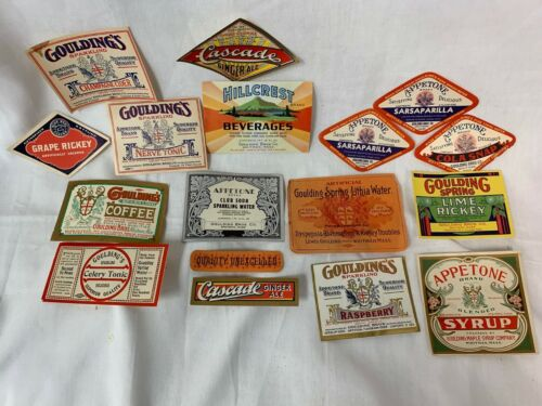 17 Genuine Early 1900s Drink Bottle Labels: Appetone, Gouldings, Cascade & More