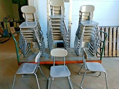 Vintage Lot Of 28 Grey Sled Base Stacking Chairs 15-12-16 Seat School Chairs