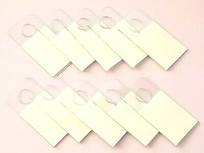 Round Hole Hang Tag Pegboard Slatwall Gridwall Tabs Self-adhesive Clear Plastic