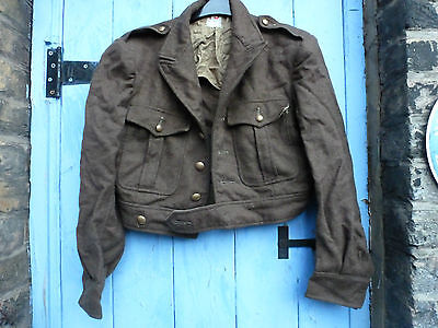True Vintage French  Army Jacket. Bomber Jacket Thick Wool with Brass Buttons.