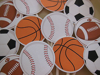 Sports Happy Birthday Toppers NEW Packed 12 Basketball Football Baseball Soccer