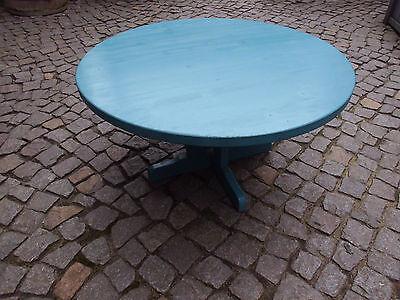 kleiner blauer runder Tisch Beistelltisch, Gartentisch aus Holz ca. 43,5cm hoch