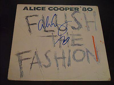 """Alice Cooper In Person Hand Signed """"Flush The Fashion"""" Vinyl Cover W/LP & COA #1"""