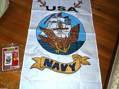 "United States NAVY Large Appliqued Flag Navy Seal on White Flag  28"" X 48"" NEW!"