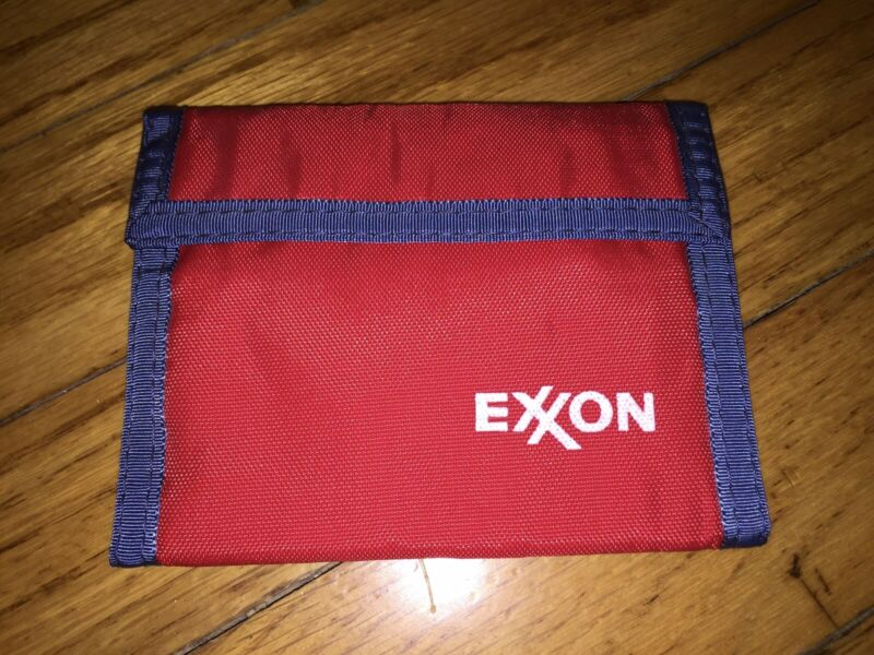 Vintage Exxon Nylon Wallet Red with Blue Trim NWOT