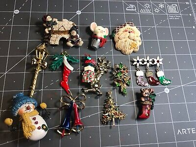 LOT OF Twelve 12 Christmas Holiday Winter Themed Costume Jewelry Pins -  F