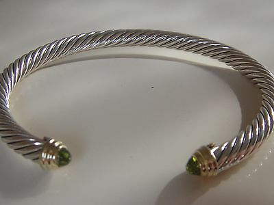 $625 DAVID YURMAN 14K GOLD, SS PERIDOT BRACELET LARGE