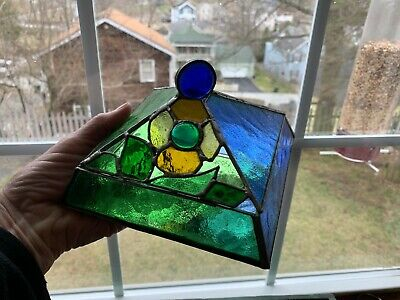 Hand Crafted Pyramid Leaded Stain Glass Mirrored Jewelry Trinket Box Buy it -