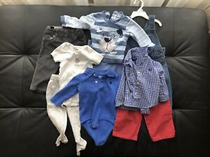 Baby clothes 6-9 months, many with hangers