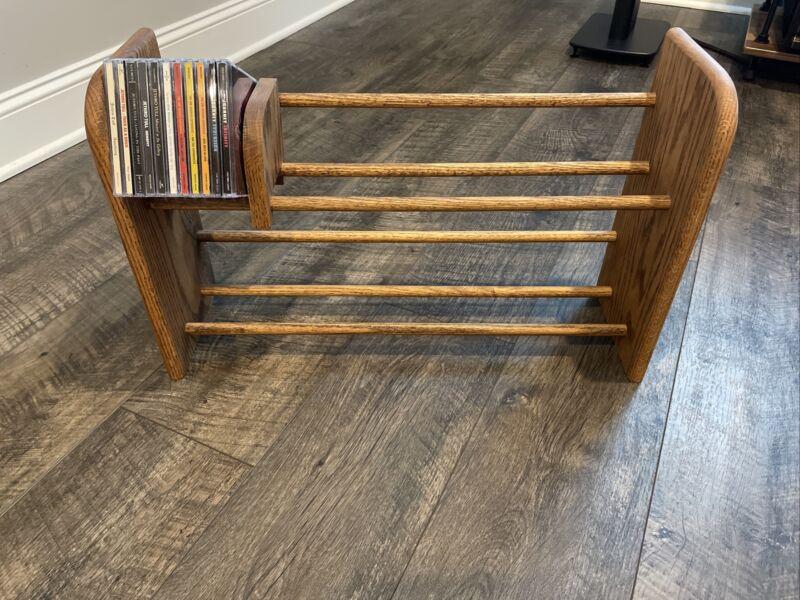 Solid Oak Table Top CD Storage Rack by Rebrilliant