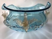 "14"" Large Antique Venetian Salviati Aqua Blue Swans Gold Figure Centerpiece Bowl"