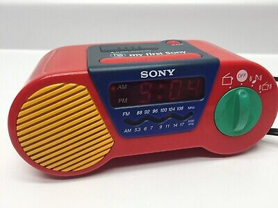 SONY Alarm AM/FM Clock Radio Primary Colors Red My First Sony ICF-C6000
