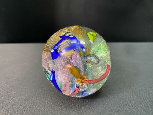 "Glass Eye Studio (GES 98) ~ Art Glass Paperweight ~ 3 1/2"" Dia ~ Multi-Colored"